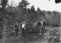 Williamsville town road crew with wagon, Williamsville, Vt.