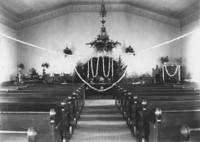 Church interior, possibly set up for wedding or funeral, Williamsville, Vt.