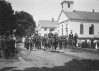 Parade marching band in front of Williamsville church