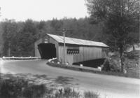 Covered bridge by depot in Williamsville, Vt.