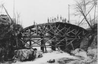 Building wooden form for arch bridge, Williamsville, Vt.