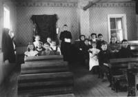 West Dummerston School Interior, with Teacher and Students