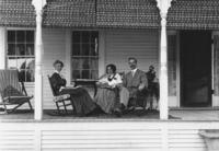 Minister's Family on Porch, Jamaica, Vt.