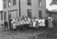 School Class Picture with Teacher Miss Switzer, Newfane, Vt.