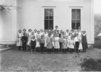 School Class Picture with 23 American Flags, Newfane, Vt.