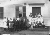 School Class Picture with Teacher Fred Gilbert, Newfane, Vt.