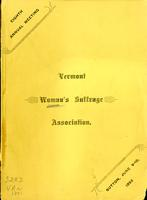 Minutes of the Eighth Annual Meeting of Vermont Woman's Suffrage Association, Held in Baptist Church, Sutton, Vermont, Thursday Evening and Friday, June 9 and 10, 1892.