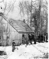 Group with horses in front of a sugarhouse