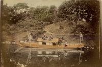 A riverboat with passengers and workers