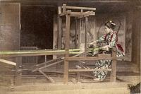 Woman working at a loom