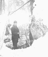 L.L. Little in a camp pit on Smugglers' Notch