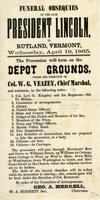 Funeral obsequies of the late President Lincoln, in Rutland, Vermont, Wednesday,             April 19, 1865