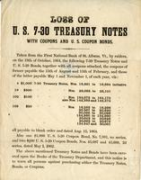 Loss of U.S. 7-30 treasury notes with coupons and coupon bonds