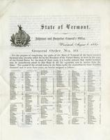 General order no. 10 ... For the purpose of completing the quota of the state of Vermont of the three hundred thousand men recently call for by the President
