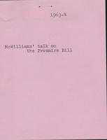 Dairy -- Proxmire Bill-McWilliams Talk, 1964