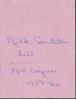 Dairy -- Milk Sanitation Bill, 1960