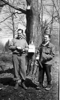 "Hugh Conklin and Bill Mahan, ""General Foods' Boys,"" in the sugar bush"