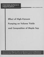 Effect of high-vacuum pumping on volume yields and composition of maple sap
