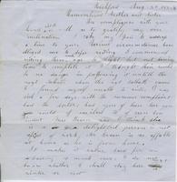 Maria Horner to Andrew and Ruth Fletcher, 1854 August                         20