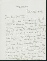 Letter to Mrs. C.G. (Ann) Austin, November 3, 1939