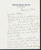 Letter to Mrs. C.G. (Ann) Austin, March 7, 1940