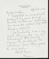 Letter to Mrs. C.G. (Ann) Austin, April 5, 1940