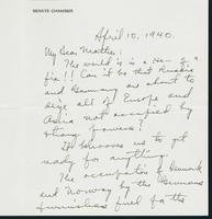 Letter to Mrs. C.G. (Ann) Austin, April 10, 1940