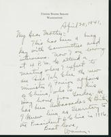 Warren R. Austin letter to Mrs. C.G. (Ann) Austin, April 30, 1941