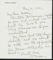Warren R. Austin letter to Mrs. C.G. (Ann) Austin, May 7, 1941