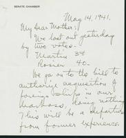 Warren R. Austin letter to Mrs. C.G. (Ann) Austin, May 14, 1941