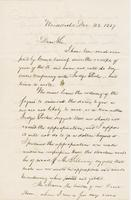 Letter from NORMAN WILLIAMS to GEORGE PERKINS MARSH, dated                             December 23, 1857.