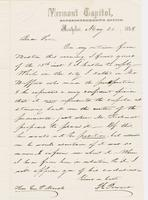 Letter from THOMAS E. POWERS to GEORGE PERKINS MARSH, dated May                             21, 1858.