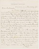 Letter from SPENCER FULLERTON BAIRD to GEORGE PERKINS MARSH,                             dated March 29, 1881.