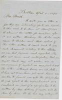 Letter from THOMAS WILLIAM SILLOWAY, 1828-1910 to GEORGE PERKINS                             MARSH, dated April 1, 1858.