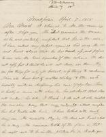 Letter from THOMAS WILLIAM SILLOWAY to GEORGE PERKINS MARSH,                             dated April 7, 1858.