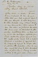 Letter from THOMAS WILLIAM SILLOWAY to GEORGE PERKINS MARSH,                             dated August 19, 1858.