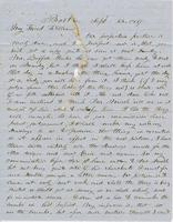 Letter from THOMAS WILLIAM SILLOWAY to NORMAN WILLIAMS, dated                             September 23, 1857.