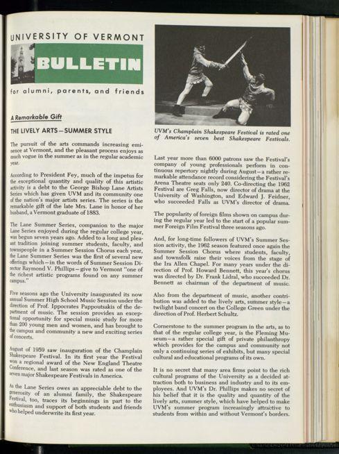 Bulletin of the University of Vermont vol  59 n