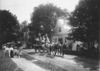 Team of horses pulling a parade float, Willimasville, Vt.