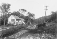 Flood damage at Rev. R.H.Claxon house and on road, South Newfane, Vt.