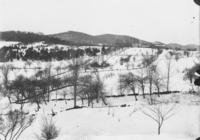 Winter scene with with fields and house, Williamsville, Vt.