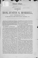 National colleges : speech of Hon. Justin S. Morrill of Vermont in the Senate of             the United States, December 5, 1872.