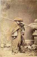 Rural worker with reed garment
