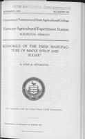 Economics of the farm manufacture of maple syrup and sugar