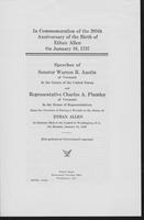 In Commemoration of the 200th Anniversary of the Birth of Ethan Allen on January 10, 1937:  Speeches of Warren R. Austin of Vermont and Representative Charles A. Plumley of Vermont in the House of Representatives.