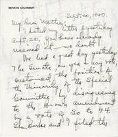Warren R. Austin letter to Mrs. C.G. (Ann) Austin, September 20, 1940