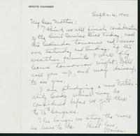 Warren R. Austin letter to Mrs. C.G. (Ann) Austin, September 26, 1940