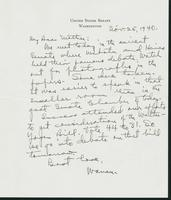 Warren R. Austin letter to Mrs. C.G. (Ann) Austin, November 25, 1940