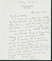 Warren R. Austin letter to Mrs. C.G. (Ann) Austin, December 30, 1940