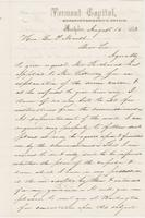 Letter from THOMAS E. POWERS to GEORGE PERKINS MARSH, dated                             August 15, 1858.